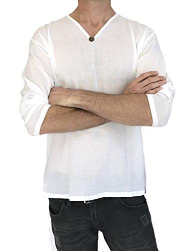 Men's T-Shirt 100% Cotton Hippie Shirt Beach Yoga Top Feature Button (Large, White) by Love Quality (Image #1)