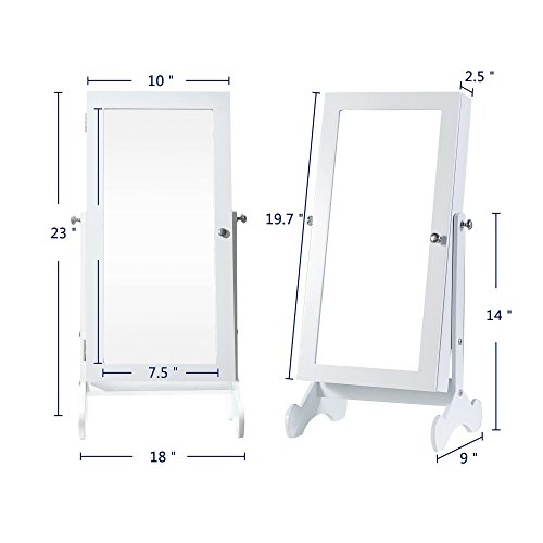 Cloud Mountain Make Up Mirrored Jewelry Cabinet Free Standing Jewelry Armoire Mini Table Tilting Jewelry Organizer, White by Cloud Mountain (Image #2)
