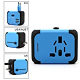 SLC All-in-one International Travel Power Adapter with 2.4A Dual USB Charger and Universal AC Wall Outlet Plugs for US UK EU AU Asia over 150 Countries with Safety Spare Fuse