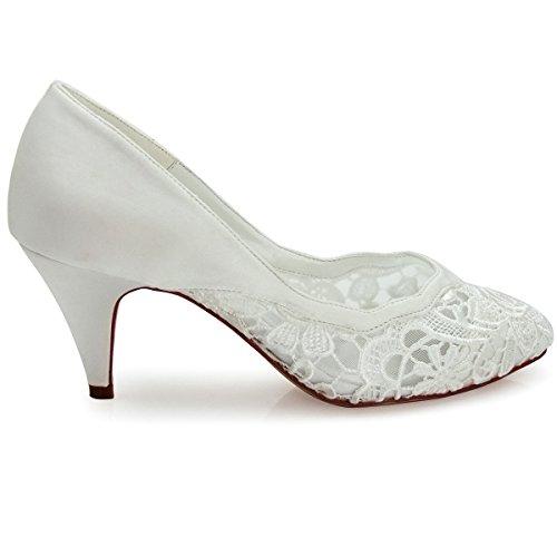 ElegantPark HC1501 Wave Edge Zapatos de tacón Cerrado Lace zapatos de novia mujer talla marfil