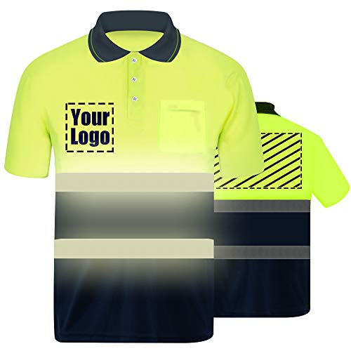 High Visibility Reflective Safety T-Shirt Custom Your Logo Protective short sleeve Polo Shirt Outdoor Workwear (Neon Yellow (L))