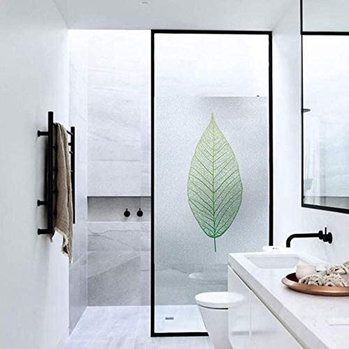 JCsticker raamfolie 3D ondoorzichtig groene bladeren melkglasfolie zonder lijm privacy film antiUV voor thuis badkamer of kantoor