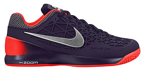 Nike Zoom Cage 2 Mens Tennis Scarpe Da Ginnastica 705247 Scarpe Da Ginnastica Viola Dinastia / Argento Metallizzato / Totale Cremisi / Argento Opaco