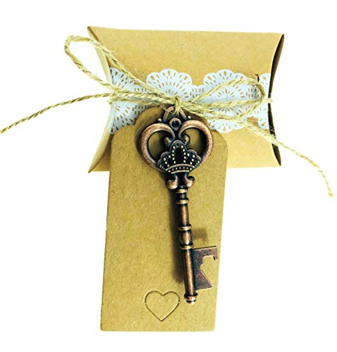 25 pcs Vintage Skeleton Key Bottle Openers Wedding Favor Souvenir Gift Set Birthday Baby Bridal Shower Party Favors Bottle Opener for Guests with Pillow Candy Box (Crown Antique Copper with card)]()