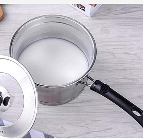 DYXYH Trois en Acier Inoxydable scellé Couche inférieure Soupe Pot avec Couvercle en Verre for Chauffage par Induction, Four et Lave-Vaisselle de sécurité