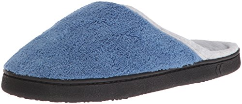 Isotoner Microterry Dames Bredere Breedte Klomp Slippers Denim
