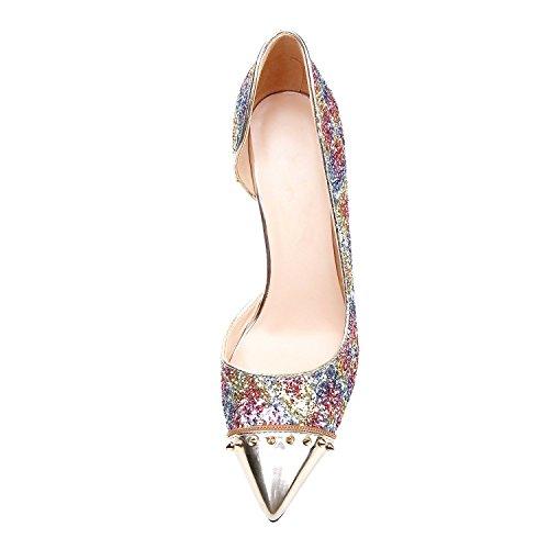 MerMer Zapatos De Tacón Alto de Aguja Puntiaguda De Moda Coloido Brillante Para Fiesta