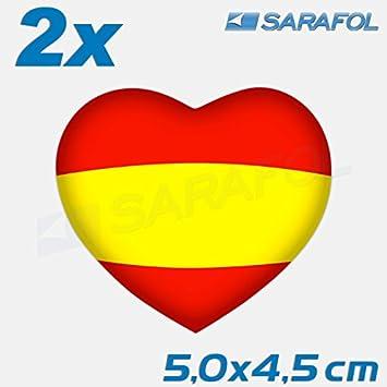 2x España Pegatina Corazón (Nr.052) Bandera Española Español Pegatinas 5,0 x 4,5cm: Amazon.es: Coche y moto