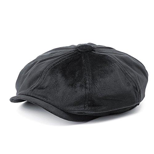 - ACHKL Men's Solid Velvet Octagonal Cap Winter Warm Casual Newsboy Gentleman Cabbie Hats ACHKL (Color : Color Black, Size : One size)