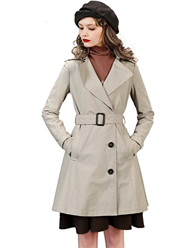 Artka Women's Slim Lapel Trench Coat Empire Waist Belted Long Jacket Khaki -