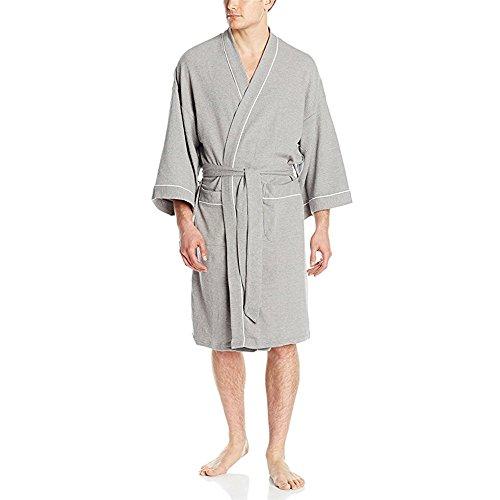 cce7e1cc17 YIMANIE Men s Waffle-Weave Kimono Robe Cotton Spa Bathrobe Lightweight Soft  Knee Length Sleepwear