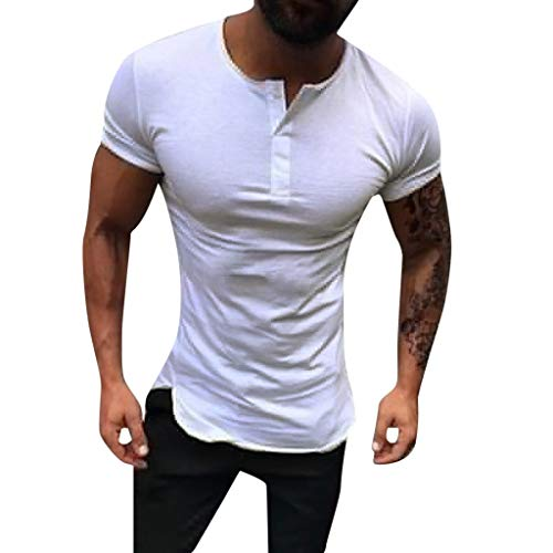 Men's Fashion Round Neck Slim Stretch Short Sleeve,MmNote Gym Muscle Fitness Sports Moisture Wicking Performance T-Shirt White