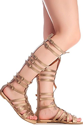 Dev Mujeres Knee High Hebilla Strapy Cage Flat Gladiator Marcelona Sandalias Zapatos Bronce