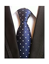 MENDENG Classic Navy Blue White Polka Dot Ties Jacquard Woven Silk Men's Necktie