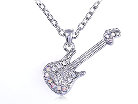 Alilang Petite Rock Star Electric Guitar AB Clear Crystal Rhinestone Pendant Necklace - Electric Guitar Necklace Jewelry