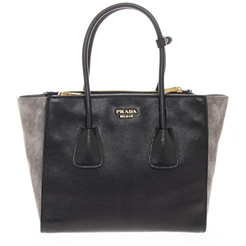 Prada-Womens-and-Suede-Tote-Black-Grey