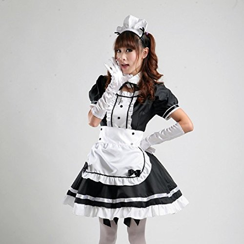 COCONEEN Women's Anime Cosplay French Apron Maid Fancy Dress Costume Black - http://coolthings.us