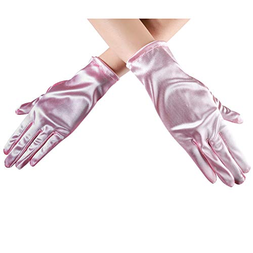 (Xuhan Short Opera Costume Dress Satin Gloves for Women Wrist Length (8.66 inches-Pink))
