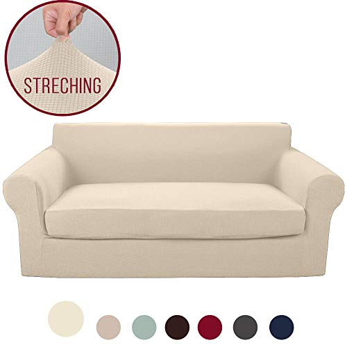 Vailge 2-Piece High Stretch Jacquard Sofa Slipcover, Durable Sofa Cover with Separate Cushion Cover, Machine Washable Couch Covers/SlipCover for Dogs,3 Cushion Couch,Kids,Pets(Sofa:Beige) (Slipcovers Cushion Couch Covers With)