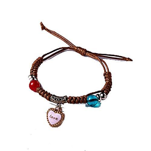 Luccaful Animal Bracelets Leather Handmade Punk Jewelry Shell Emoji Love Rose Flower Horse Moon Bracelet for Women Love OneSize