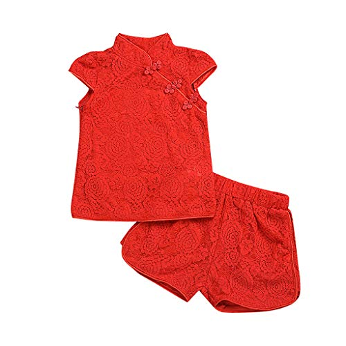 FEITONG Toddler Kids Baby Girls Outfit Clothes Cheongsam Lace Stand Collar Short Sleeve T-Shirt Tops+Shorts Set(Red,6-7Y ()