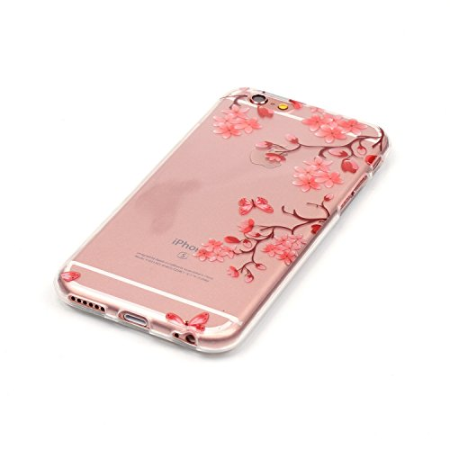 Custodia iPhone 6 / 6S , LH Bello Fiore Plum TPU Silicone Trasparente Case Cover Cristallo Morbido Custodie per Apple iPhone 6 / 6S 4.7