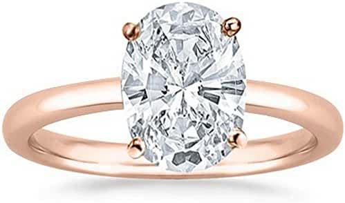 1/2 - 2 Carat GIA Certified 18K Rose Gold Solitaire Oval Cut Diamond Engagement Ring (G-H Color, I1 Clarity)