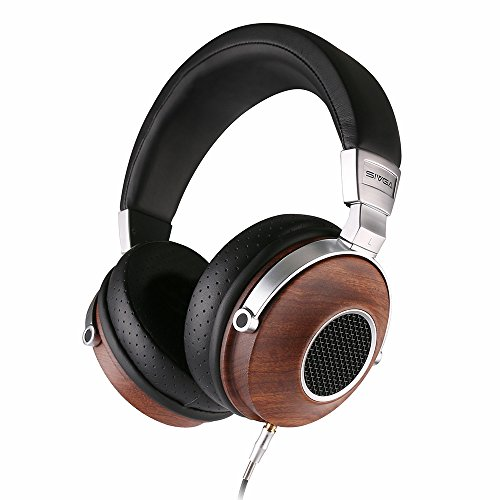 SIVGA Solid Wood Over Ear Deep Bass Headphones with Open Back Design, High Definition Professional Music Studio Wired Hi Fi Wooden Headset with Mic and Volume Control, SV007 Rosewood