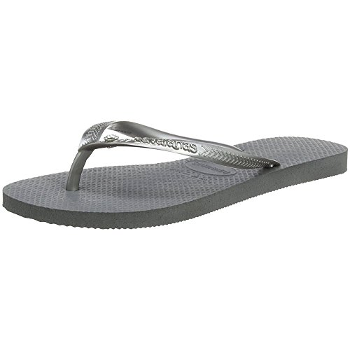 - Havaianas Womens Slim Crystal Glamour Sandal Lightweight Beach Flip Flop - Steel Gray - 10/11