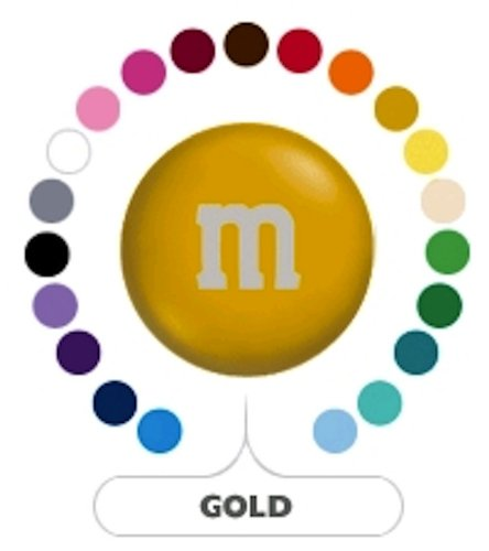 M&M's Gold Milk Chocolate Candy 1LB (Single Colored M&ms)