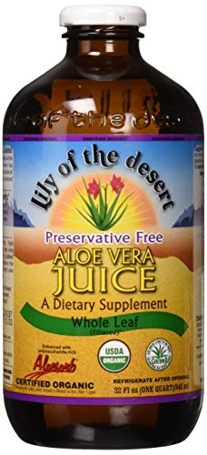 Lily of the Desert Aloe Juice, Preservative Free, Whole Leaf, 1 Quart (Packaging may - Handle Whl