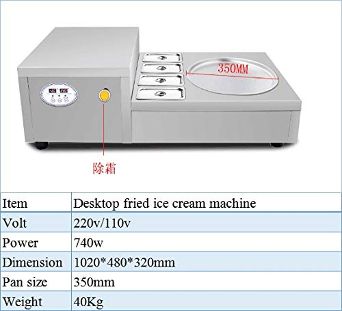 SISHUINIANHUA Thailand Single Pan 4 Buckets Fried Ice Cream Roller/Instant Ice Cream Rolls Machine/Fry Ice Cream Cold Plate,220V