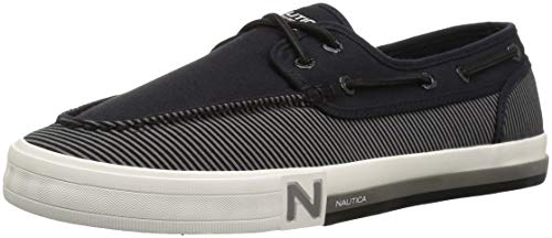 Nautica Deck Shoes - Nautica Men's Spinnaker Boat Shoe, Black Stripe Denim, 7.5 Medium US