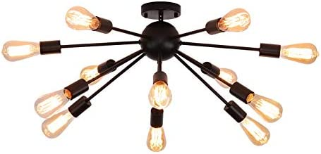 12-Light Black Sputnik Chandelier Modern Semi Flush Mount Ceiling Light Fixture Dining Room Kitchen Island Living Room Bedroom Hallway Lighting