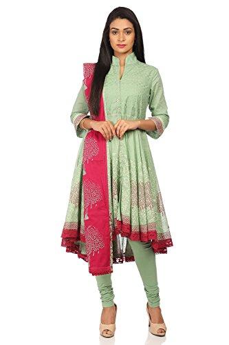- BIBA Women's Sea Green Cotton Salwar Kameez Dupatta Size 32