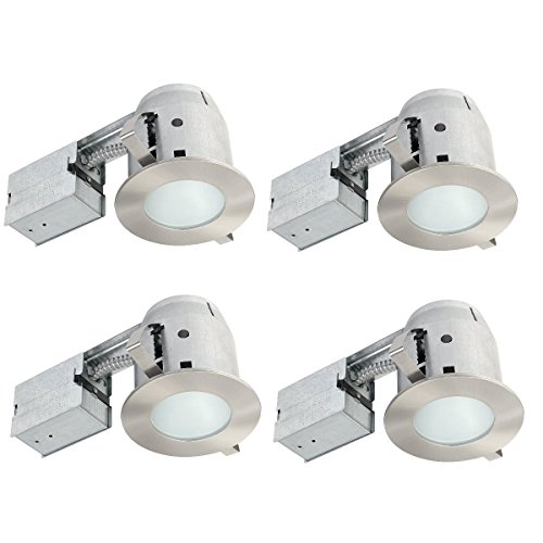 Globe Electric 4'' IC Rated Bathroom Recessed Lighting Kit, 4-Pack, Frosted Glass, Brushed Nickel, 4 LED Bulbs Included, 90973 by Globe Electric