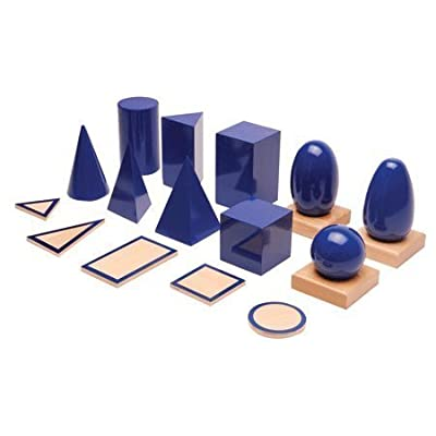 Montessori Geometric Solids with Stands, Bases, and Box: Toys & Games