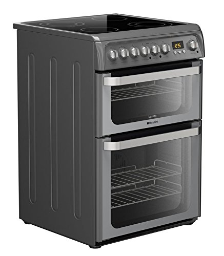 Hotpoint HUE61G S 60cm Freestanding Electric Double Oven Cooker In Graphite