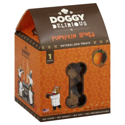 DOGGIE DELIRIOUS DOG BONE PUMPKIN, 16 OZ