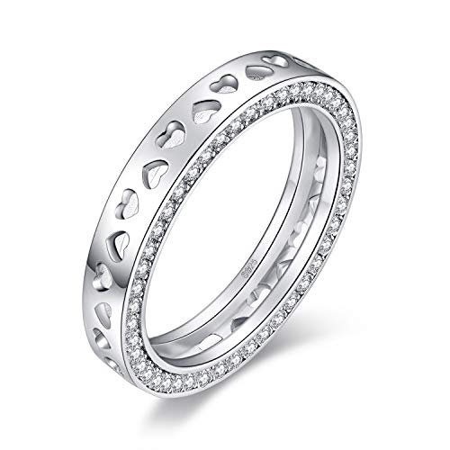 - JewelryPalace I Love You To The Moon And Back Channel Set Round Cubic Zirconia Heart Cutout Statement Ring 925 Sterling Silver size 8