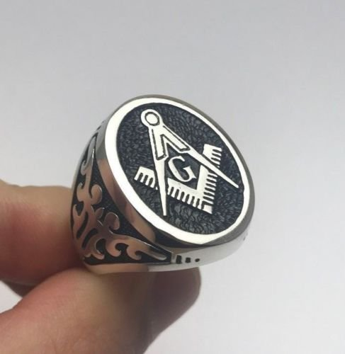Turkish Jewelry Freemasonry Mason Oval Big 925K Sterling Silver Men's Ring ()