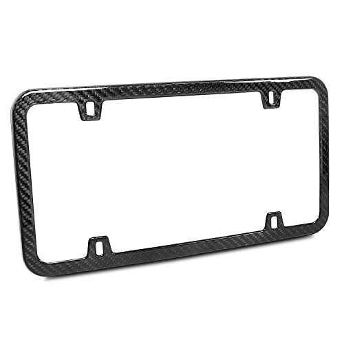 Carbon Fiber License Plate Frame (Genuine Carbon Fiber 4 Holes Silm License Plate Frame UV Resistant Glossy Finish)