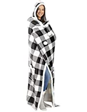 Simayixx Women Long Wearable Blanket Plush Warm Loose Sweatshirt Oversized Hoodie Capes Poncho Blanket Wrap with Pockets for Adults Kids Teens, One Size Fits All