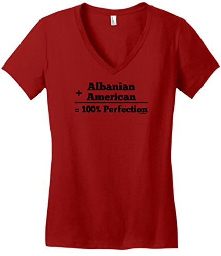 Albanian Hat Albanian American 100% Perfection Juniors Vneck Large ClRed