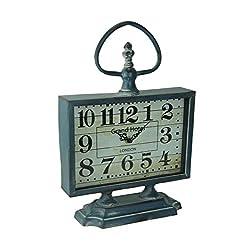 Things2Die4 Distressed Blue Metal Vintage Style Standing Table Clock
