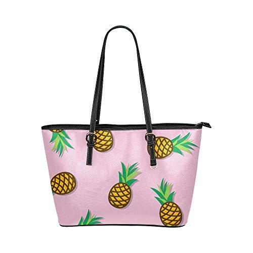 Axelväska camping vacker färgglad frukt ananas läder handväskor väska orsaksala handväskor dragkedja axel organiserare för dam flickor kvinnor handväska axelväska