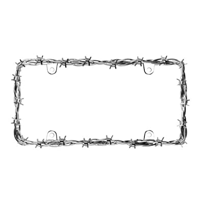 Cruiser Accessories 22230 Barbed Wire II License Plate Frame, Chrome: Automotive