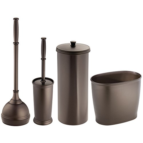 mDesign Modern Plastic Bathroom Storage and Cleaning Accessory Set - Includes Toilet Plunger, Bowl Brush, 3 Roll Toilet Paper Canister with Lid, Wastebasket Trash Can, Garbage Bin - 4 Pieces - Bronze ()