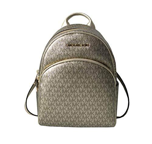 fc984fbf67ec03 Michael Kors Abbey Signature PVC Leather Medium Backpack Purse (Pale Gold  Signature)