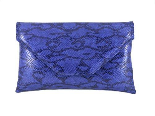Royal Snakeskin Envelope Stylish Shoulder Large Loni Womens Clutch Faux Bag Blue Bag w71RWCn